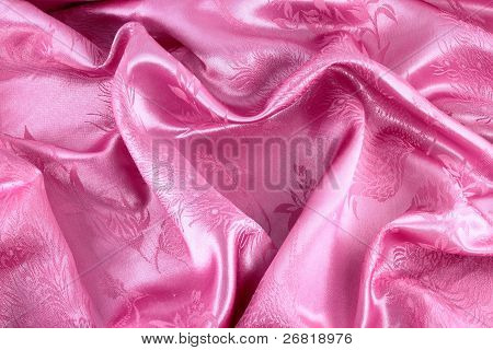Pink Heart From Satin For St Valentine's Day Background