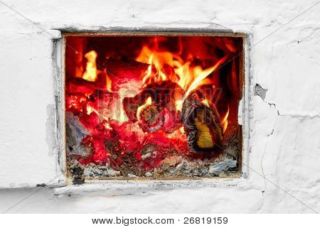 Fire in a old stove
