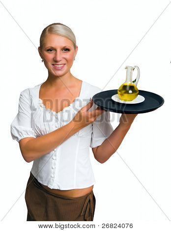 Waitress holding dish in the uniform