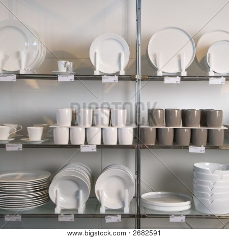 Store Display Of Dishes.