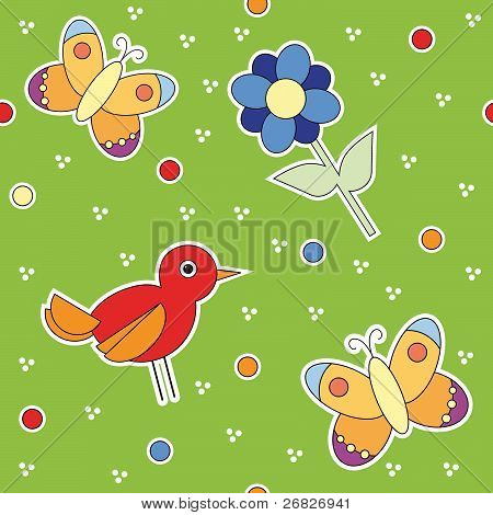 texture with colorful butterfly bird and flower