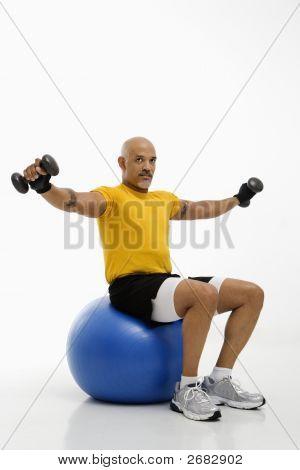 Man Using Exercise Ball.