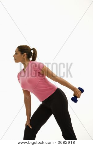 Woman Exercising With Dumbbell.