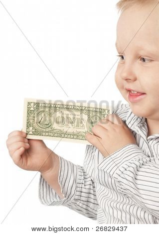 Little blond boy holding money with a happy smile, isolated on white