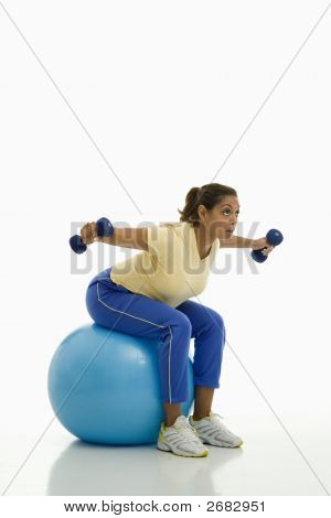 Woman Exercising On Ball.