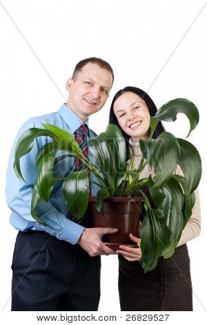 Young business couple holding the green plant and smile, isolated on white