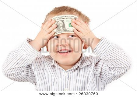 Little boy with money smiling, against white background