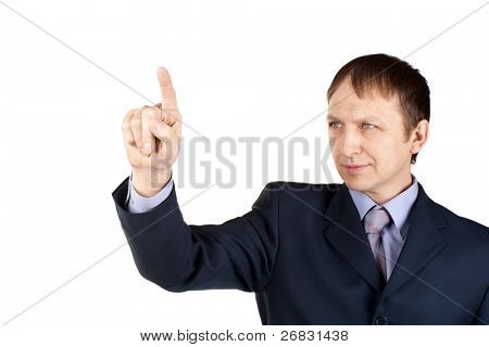 Portrait of a confident businessman pushing an imaginary button, over white background