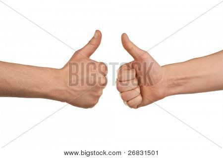 zwei männlichen Händen showing Thumbs up Sign against white background