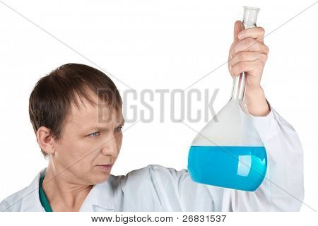 Portrait of male researcher carrying out scientific research, over white background