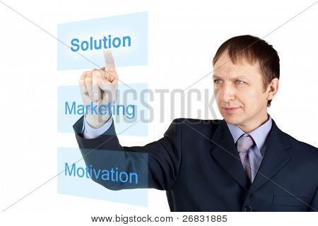 Portrait of a confident businessman pushing on touch screen, over white background