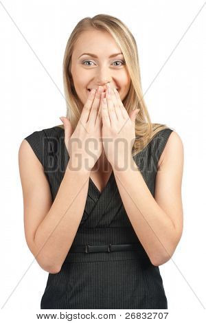 Portrait of surprised attractive businesswoman covering her mouth by the hands, over white background