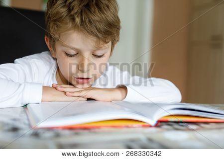 Little Blonde School Kid Boy