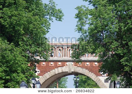 Bridge At The Summer. Palace Of Queen Ekaterina In  Moscow. Zarizino (tsaritsino, Tsaritsyno, Tsarit