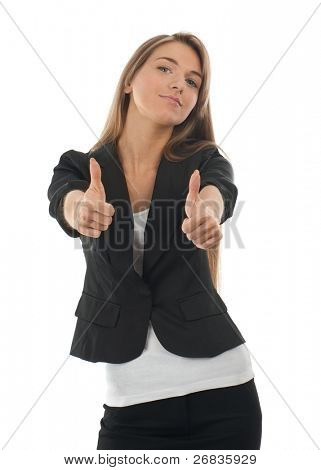 Confident business woman showing thumbs up, isolated on white background