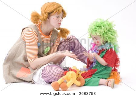 Big And Little Clown Are Playing Ii