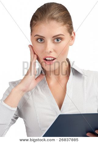 Surprised business woman holding folder with documents and touching her face in astonishment, isolated on white background