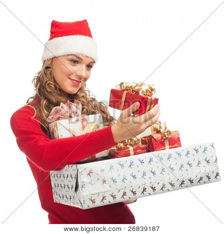 Christmas shopping woman santa hat holding many Christmas gifts in her hands