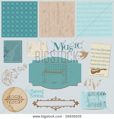 Gästebuch Designset Elemente Jahrgang Musik