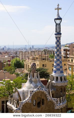 Park Guell in Barcelona - architecture of world-famous Antonio Gaudi