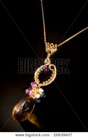 Old vintage necklace with semi-precious stones