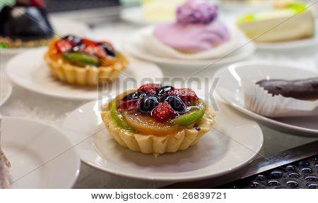 Dessert sweets in self service restaurant, shallow focus