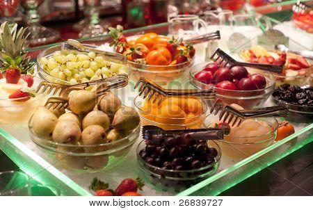 Fruits on restaurant display, shallow focus