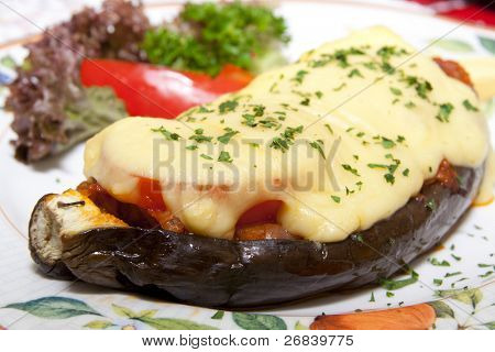 Tasty eggplant stuffed with tomatoes and cheese - bulgarian specialty