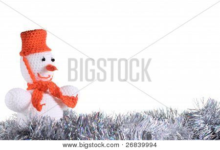 White Snowman At The White Background