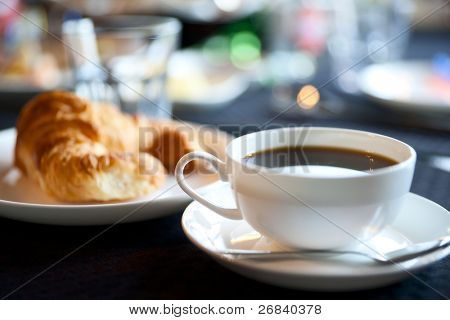 Cup of americano coffee, shallow focus