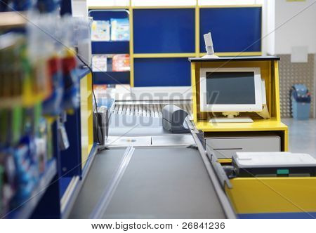 Checkout terminal in a supermarket