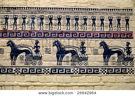 The ancient rock paintings with chariot