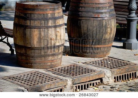 Two wooden cask for wine