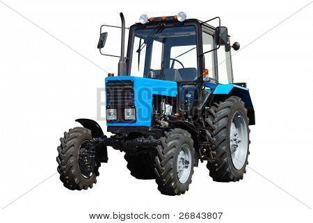 New blue tractor isolated on white background