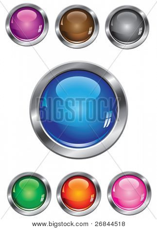Vector collection of glossy buttons in various colors