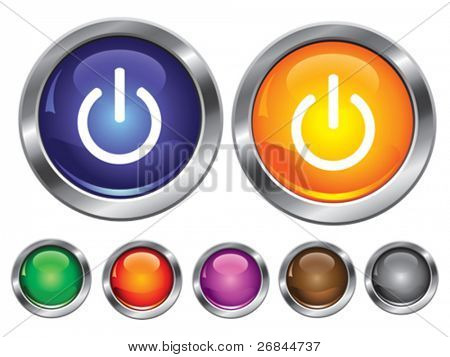 Vector collection icons with power off sign, empty button included