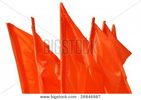 Red flag fluttering on a wind isolated on white