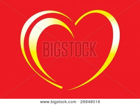 illustration of golden hearts on a red background