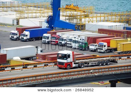 truck and container warehouse near the sea