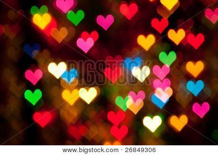 defocused hearts background