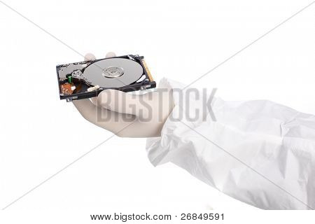 hard disk in hand isolated on white background