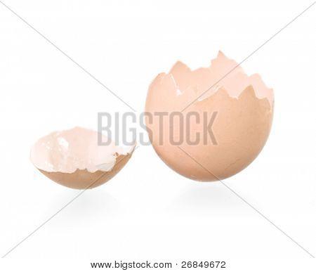 broken empty eggshell isolated on white background