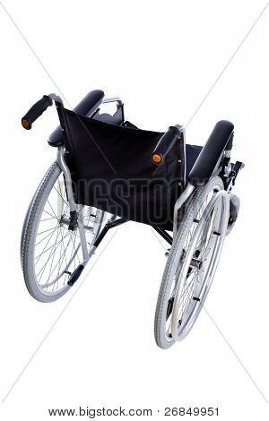 Silla de ruedas negro aislado sobre fondo blanco