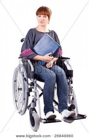 invalid girl with book on wheelchair isolated on white