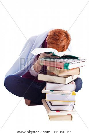 tired girl with many books isolated on white background