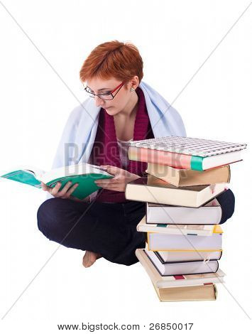 student girl with many books isolated on white background