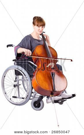 invalid girl with cello on wheelchair isolated on white