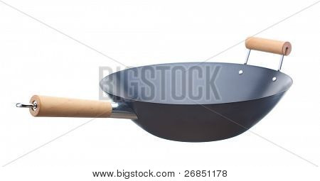 Unused wok isolated on white background