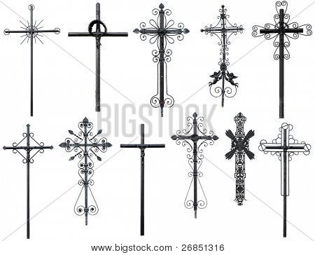 old metal Christian cross isolated on white background