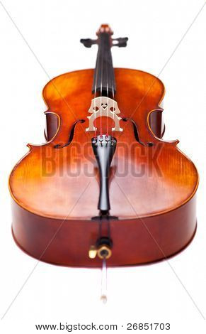 Wooden Cello. Short DOF. Focus on strings and contour of cello.